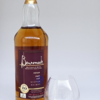 Benromach 10 yo whisky with glass