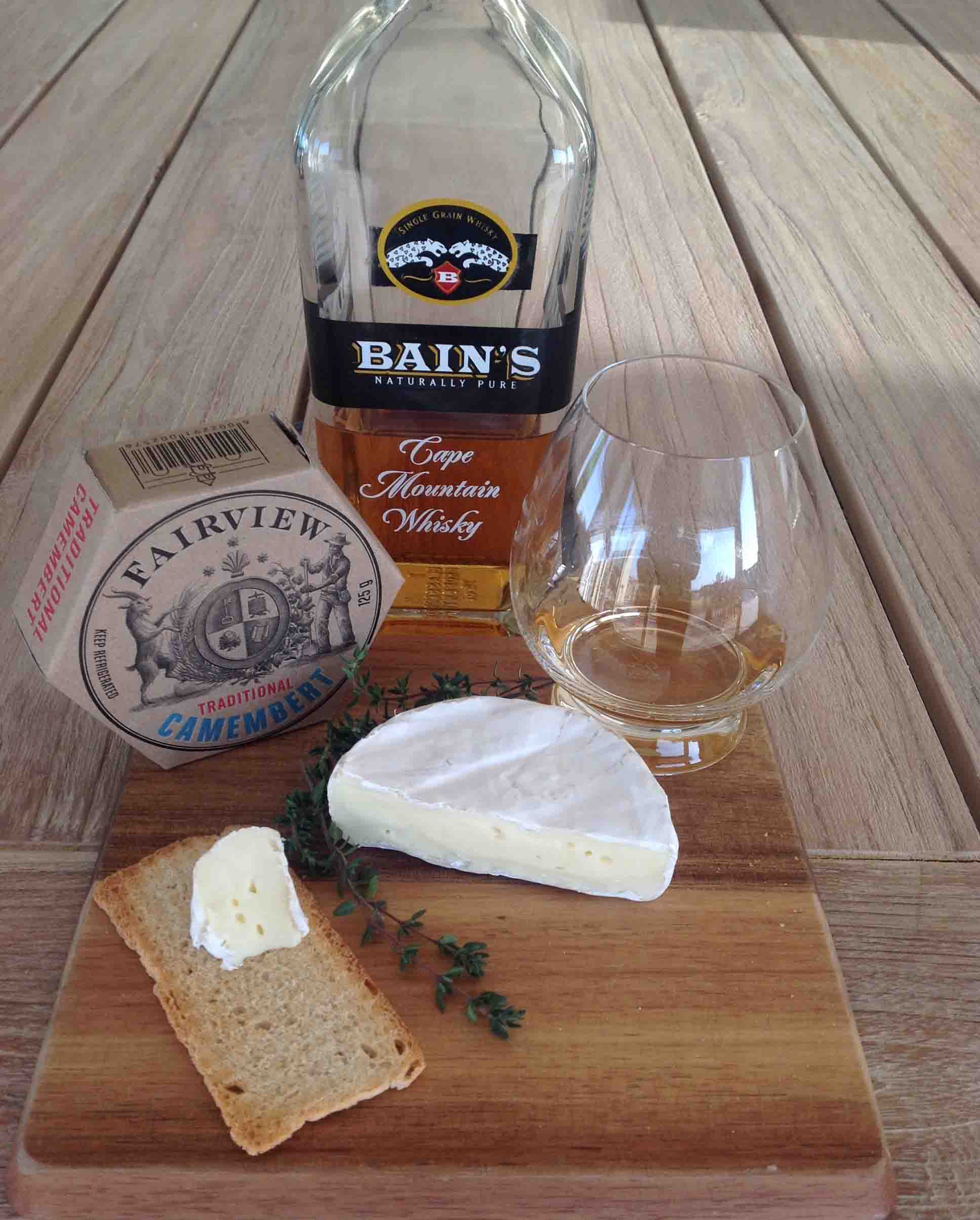 Whisky and Camembert Cheese pairing Bains whisky food pairings