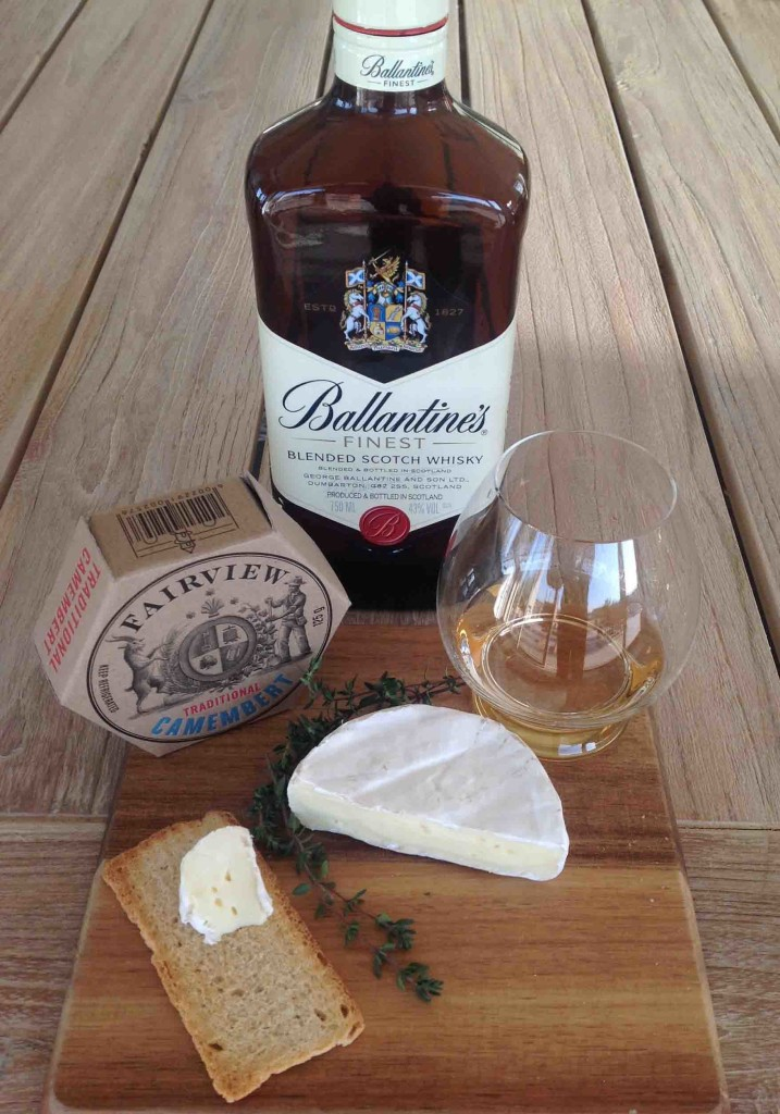 Whisky and Camembert cheese pairing Ballantine