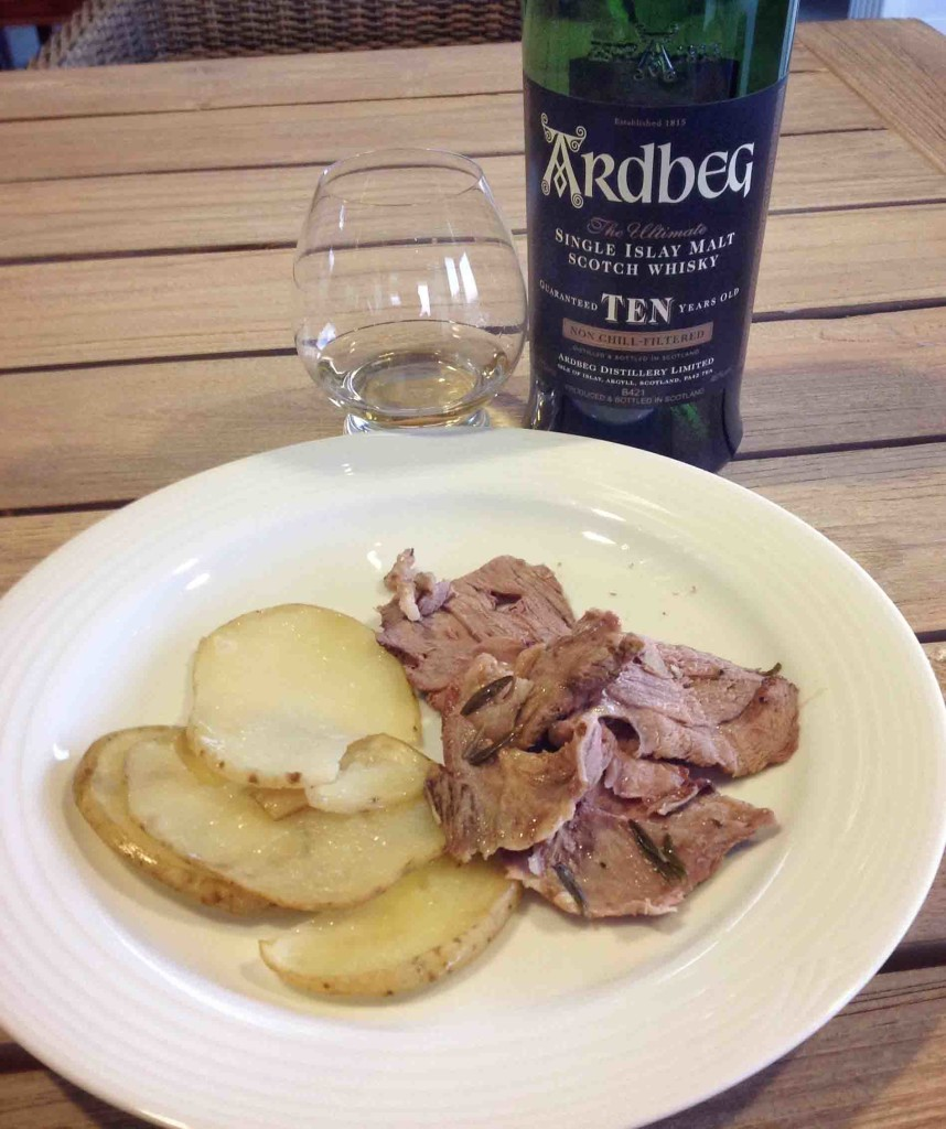 Islay whisky and lamb Jeannette's garlic rosemary lamb recipe Ardbeg 10 yo