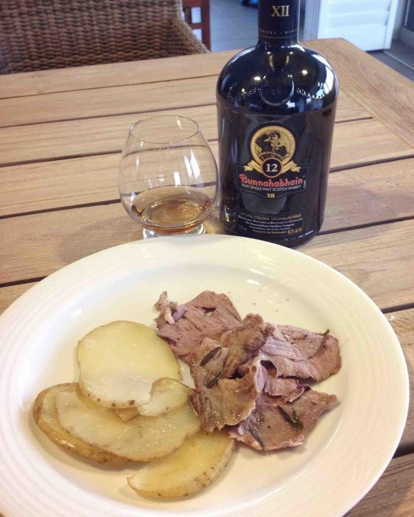 Islay whisky and lamb Jeannette's garlic rosemary lamb recipe Bunnahabhain 12 yo