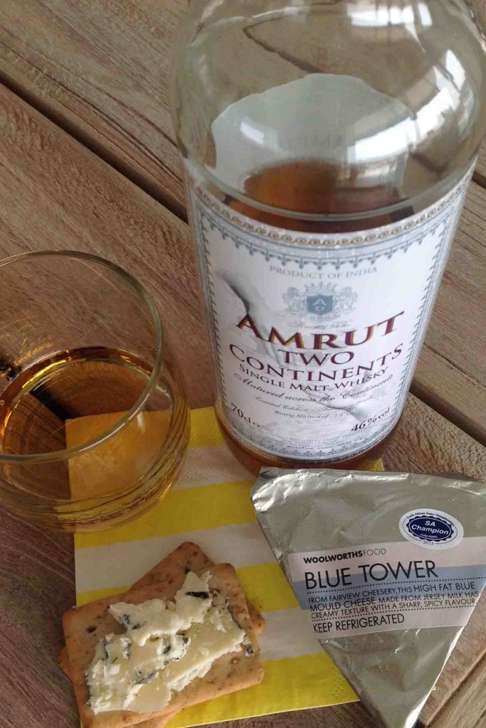 blue tower cheese and Amrut Two continents whisky cheese pairing