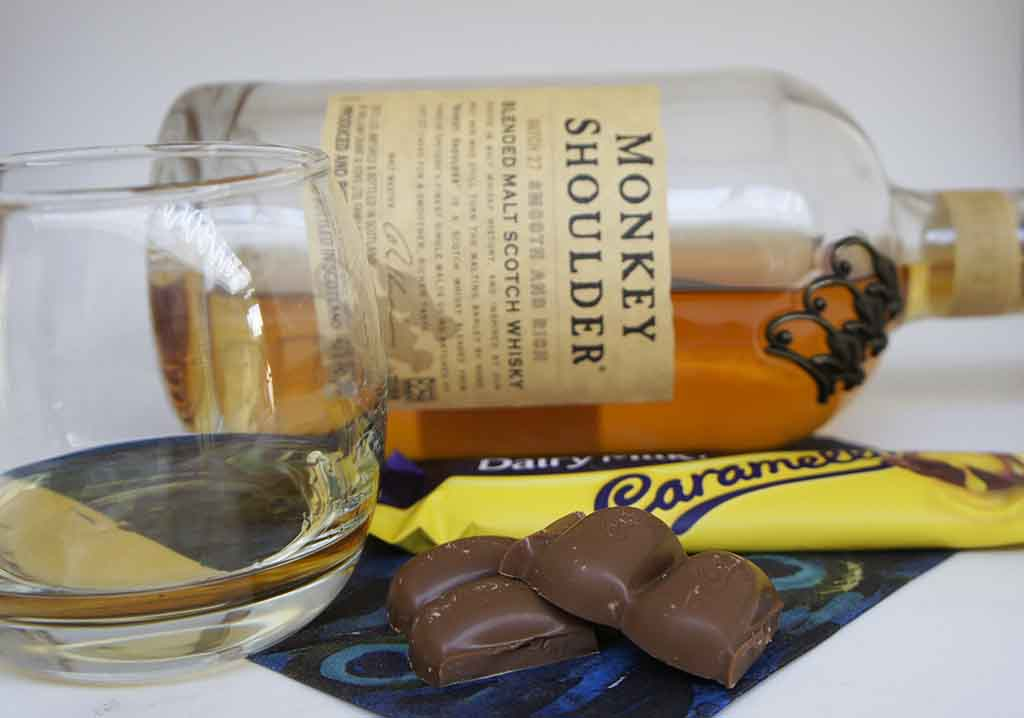 Dairy Milk Caramello chocolate paired with a Monkey Shoulder Blended malt whisky