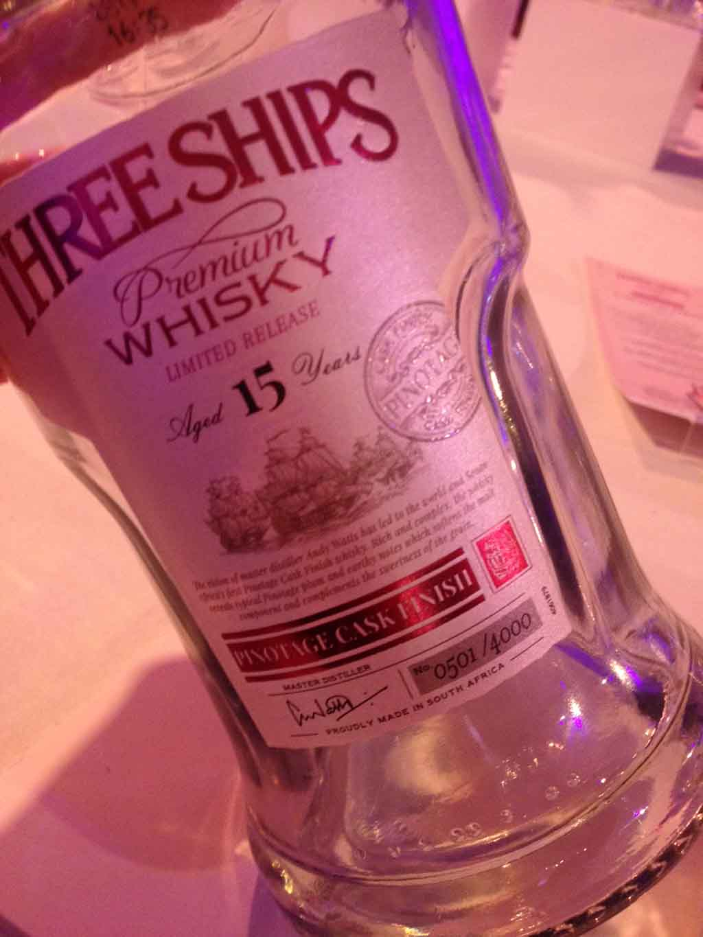Three Ships Pinotage Cask Finish whisky