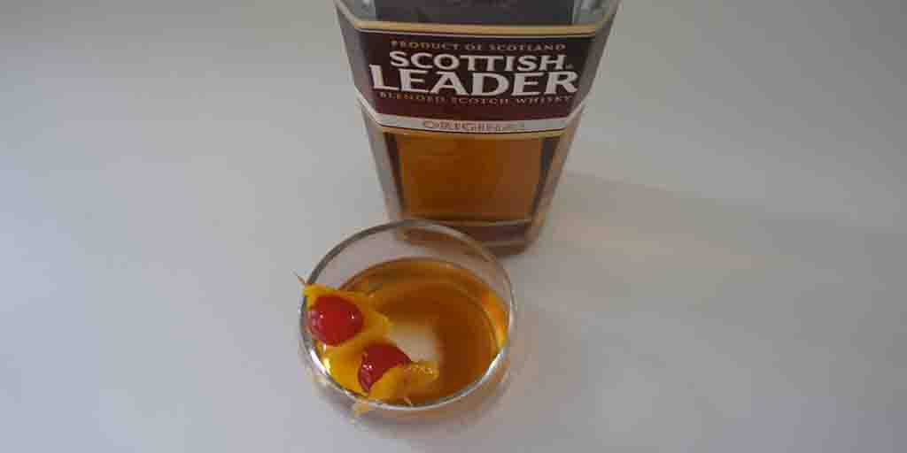 Old Fashioned cocktail with Scottish Leader Original