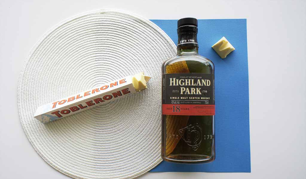 Whisky chocolate pairing 2017 edition Highland Park 18 yo and toblerone
