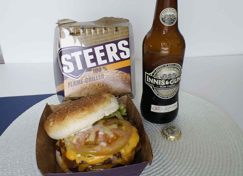 Great drinks to pair with a Steers burger Innes & Gunn Rum finish beer