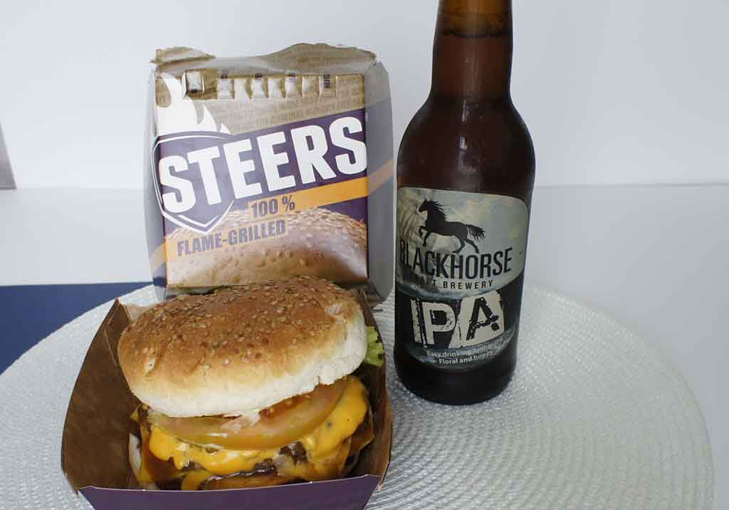 Great drinks to pair with a Steers burger Black horse Distillery IPA