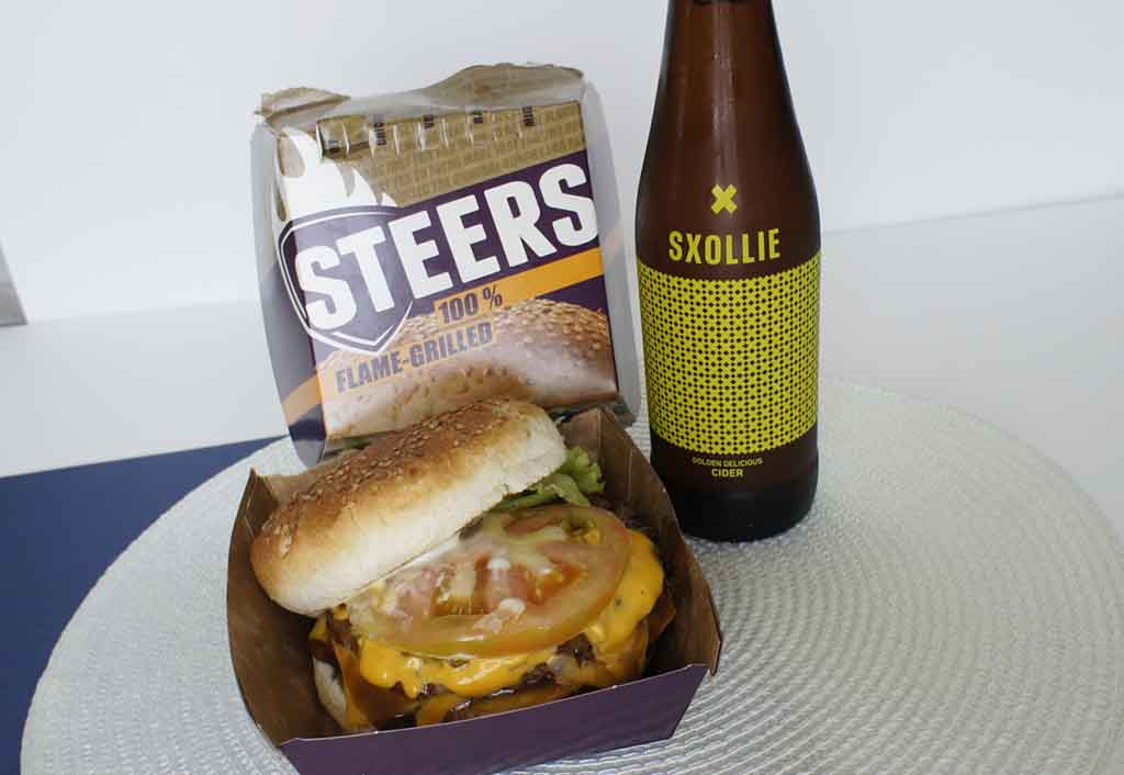 Great drinks to pair with a Steers burger Sxollie Golden Delicious Cider