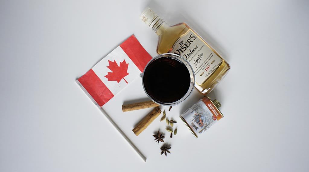 Mulled wine Canada with maple syrup and JP Wiser canadian whisky