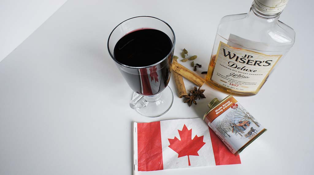 Mulled wine Canada with maple syrup and JP Wiser header