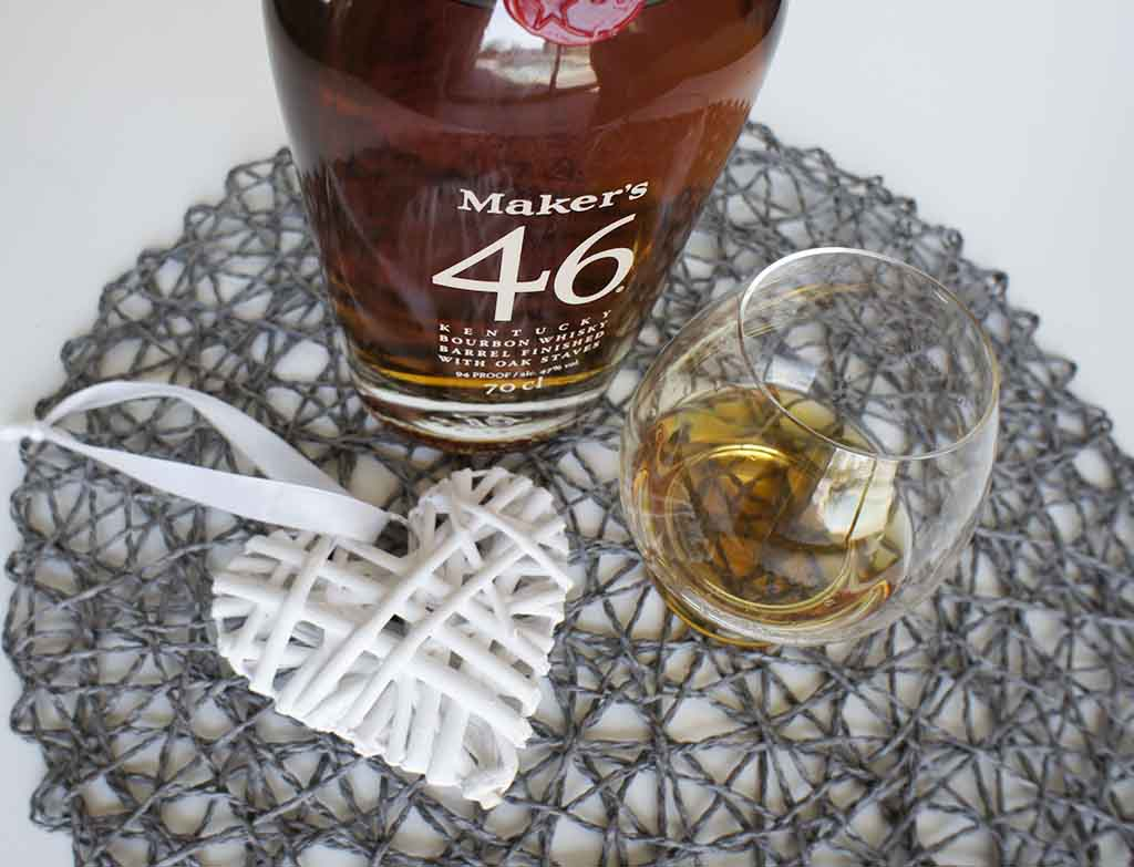 Maker's 46 Kentucky Bourbon with glass