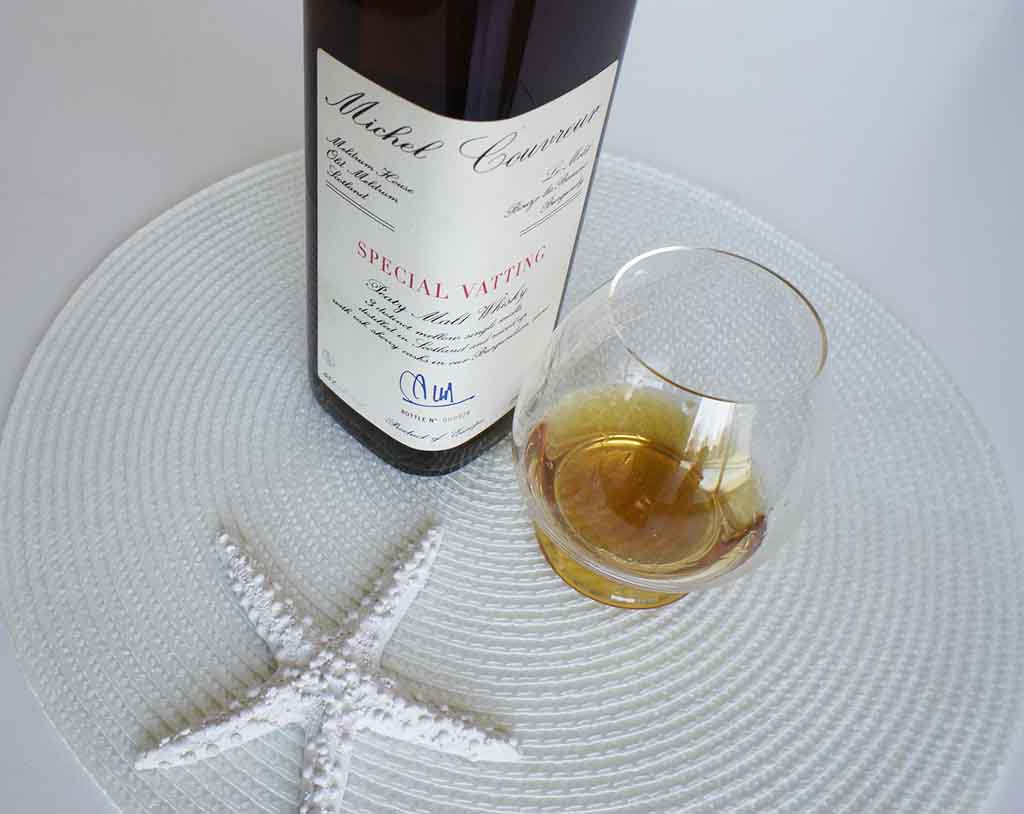 Michel Courveur special vatting whisky with glass michel couvreur special vatting