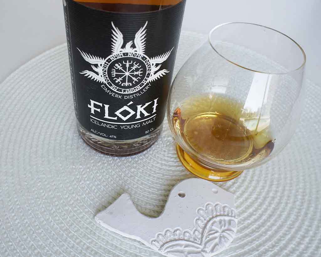 Floki Islandic Young malt whisky with glass