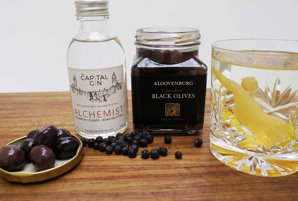 gin and olives The Capital Gin Alchemist kloovenburg smoked black olives