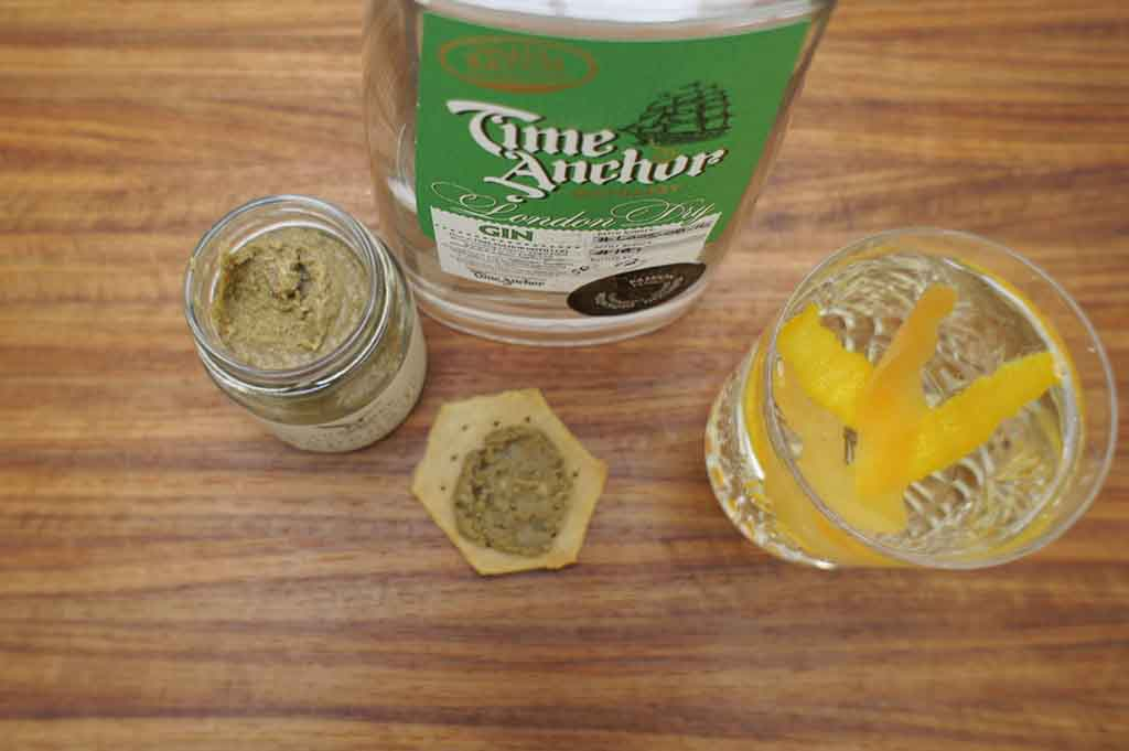 gin and olives Time anchor London dry gin chaloner olive and almond tapenade