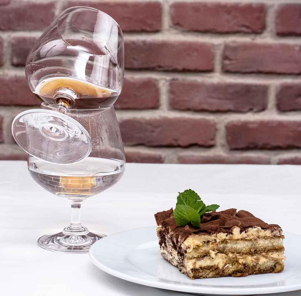 tiramisu with whisky and a glass